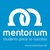 Fits in 160x50 mentorium logo text blau weiss plus www