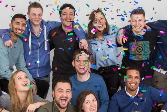 Normal teamfoto konfetti